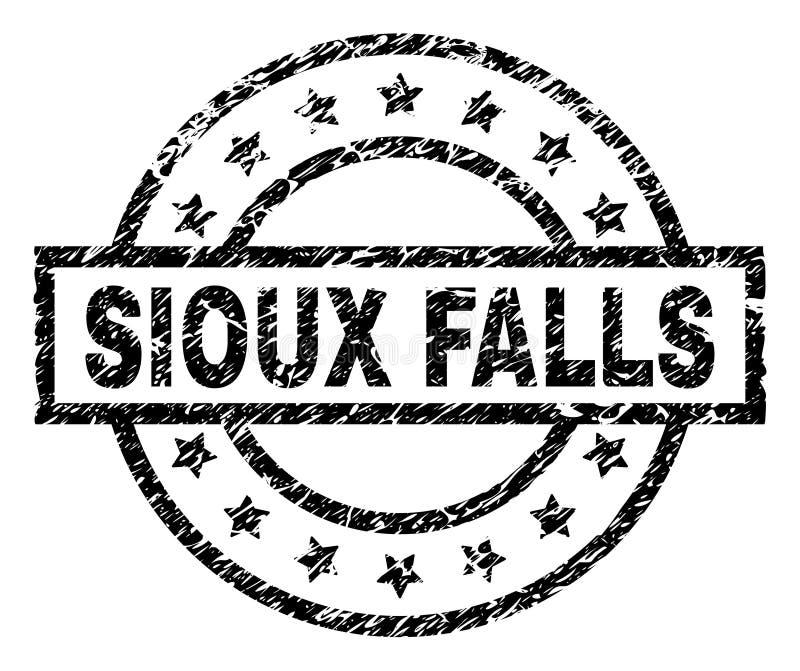 Skrapad texturerad SIOUX FALLS stämpelskyddsremsa royaltyfri illustrationer
