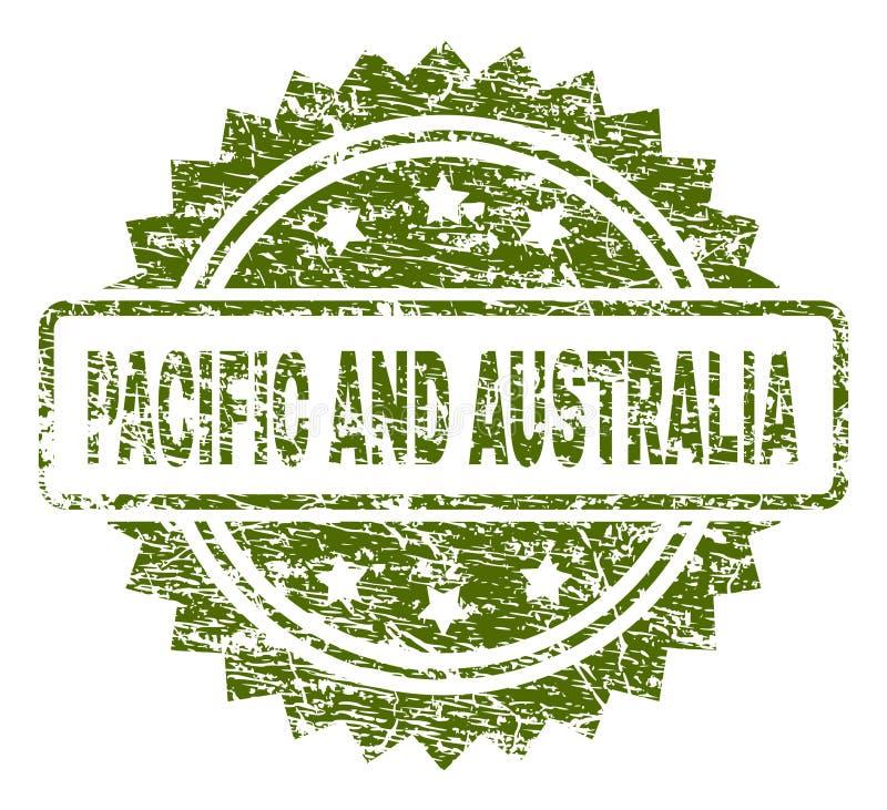 Skrapad texturerad STILLAHAVS- OCH AUSTRALIEN stämpelskyddsremsa vektor illustrationer