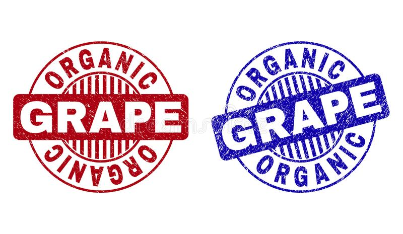 Skrapade den ORGANISKA DRUVAN för Grunge runda stämplar stock illustrationer
