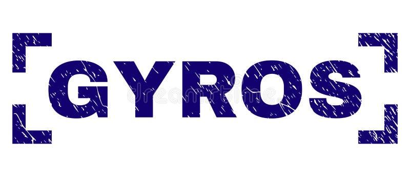 Skrapade texturerade GYROSKOP stämplar skyddsremsan inom hörn vektor illustrationer