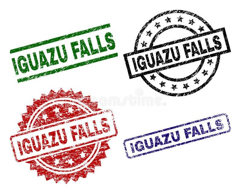 Skrapade texturerade IGUAZU FALLS stämpelskyddsremsor royaltyfri illustrationer