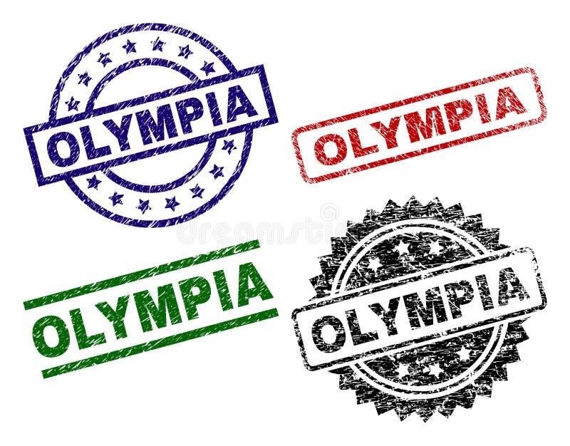 Skrapade texturerade OLYMPIA Stamp Seals royaltyfri illustrationer