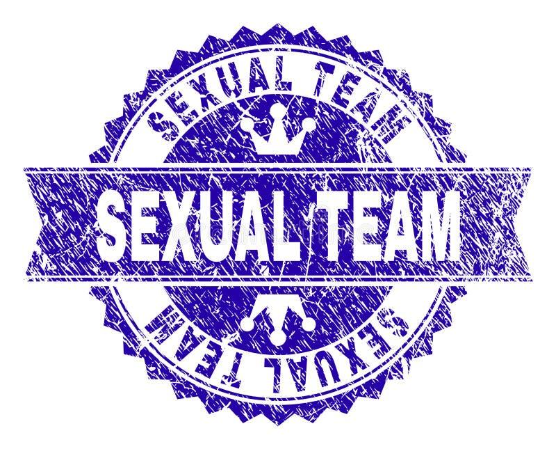 Skrapade texturerade SEXUELLA TEAM Stamp Seal med bandet stock illustrationer