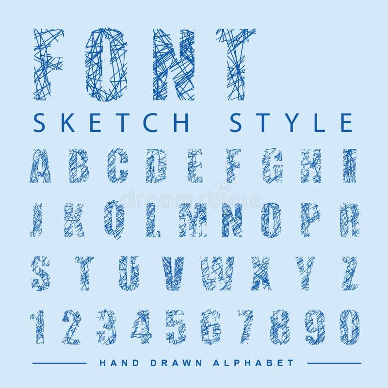 Skrapat alfabet för stilsortsstil, vektorillustration stock illustrationer