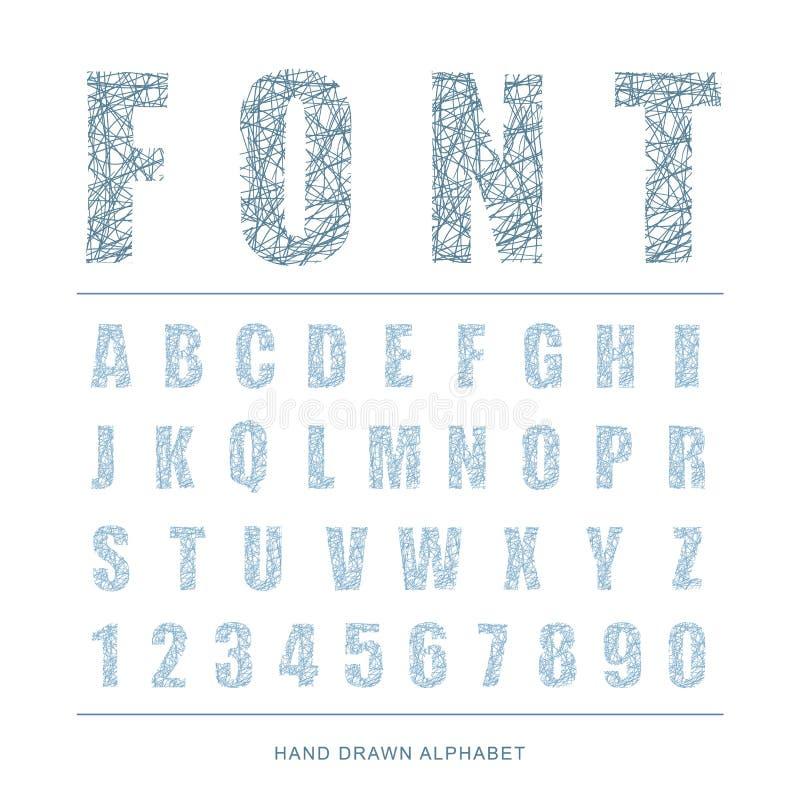 Skrapat alfabet för stilsortsstil, vektorillustration vektor illustrationer
