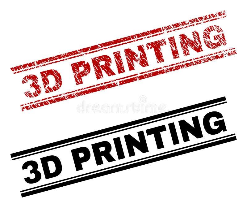 Skrapat skrivar den texturerade och rena stämpeln ut för PRINTING 3D vektor illustrationer