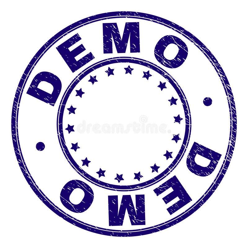 Skrapat texturerade DEMO Round Stamp Seal royaltyfri illustrationer