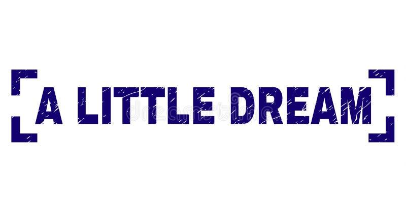 Skrapat texturerade LITE den DRÖM- stämpelskyddsremsan inom hörn vektor illustrationer