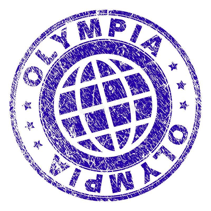 Skrapat texturerade OLYMPIA Stamp Seal royaltyfri illustrationer