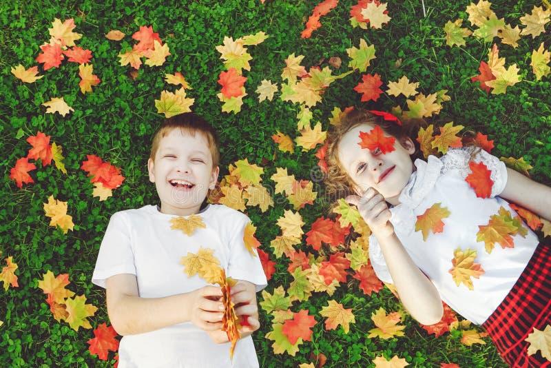 Skratta barn som ligger i gräs som kastar höstsidorna i t royaltyfri bild