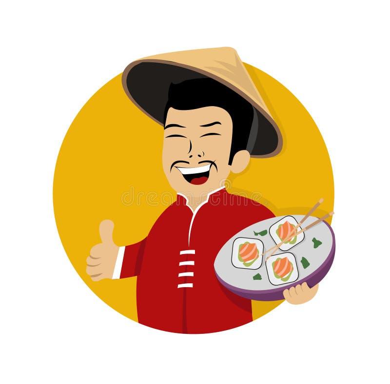 Skratta den asiatiska kocken med sushi i hand stock illustrationer