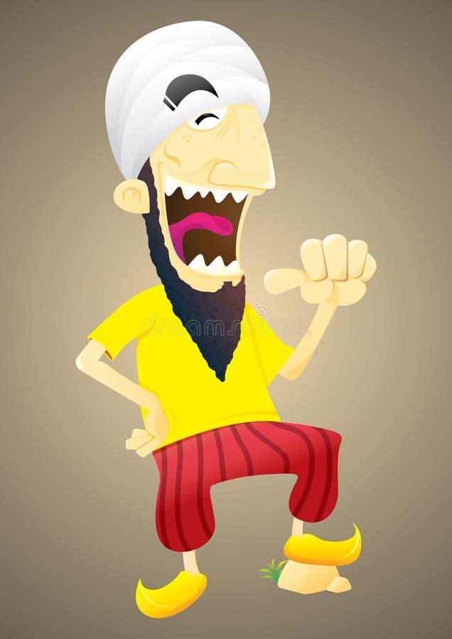 Skratta den bärande vita turbanillustrationen för man royaltyfri illustrationer