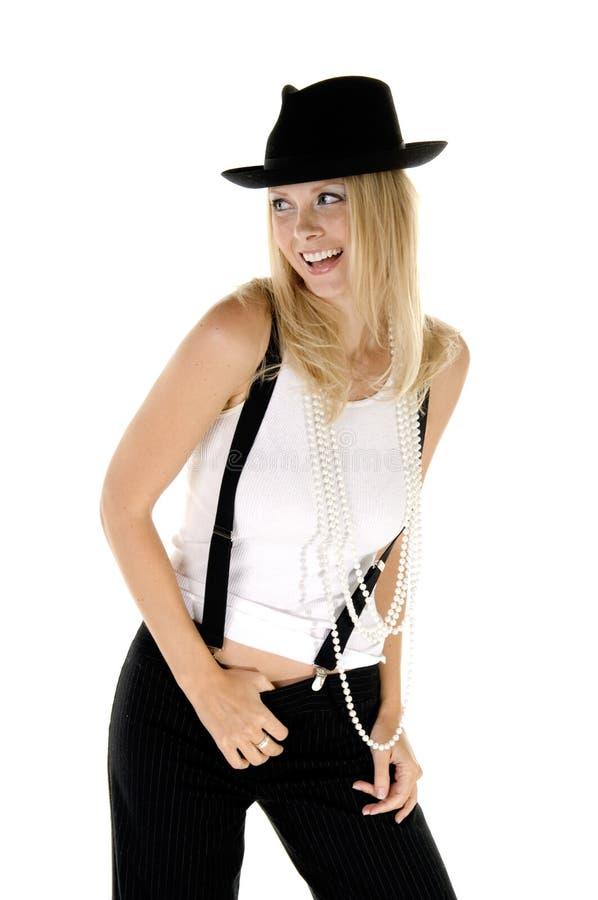 skratta för blondin som är retro fotografering för bildbyråer