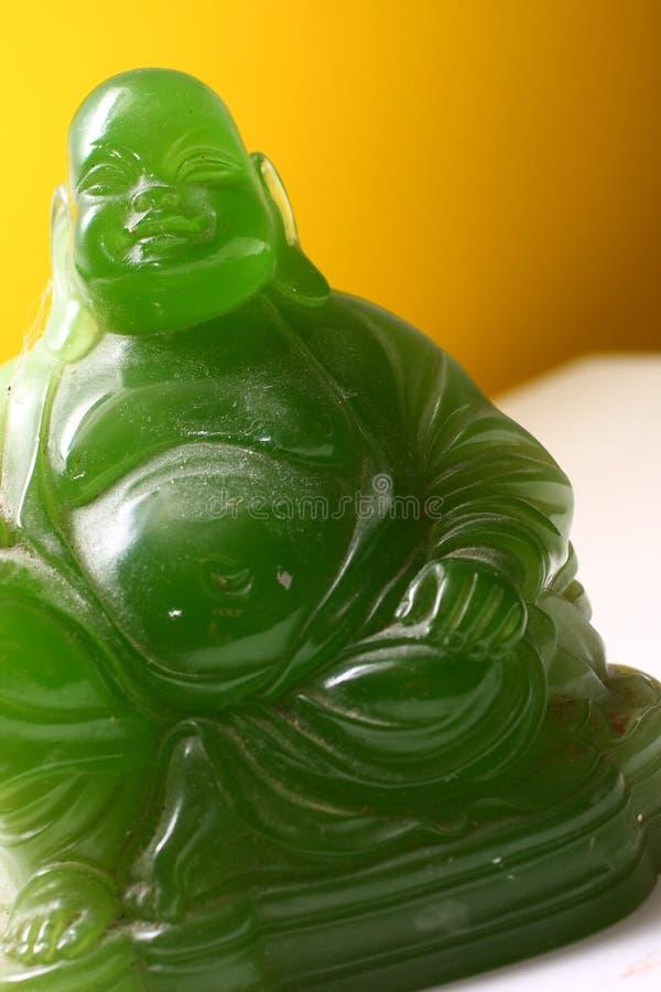 skratta för buddha fett jade arkivbild