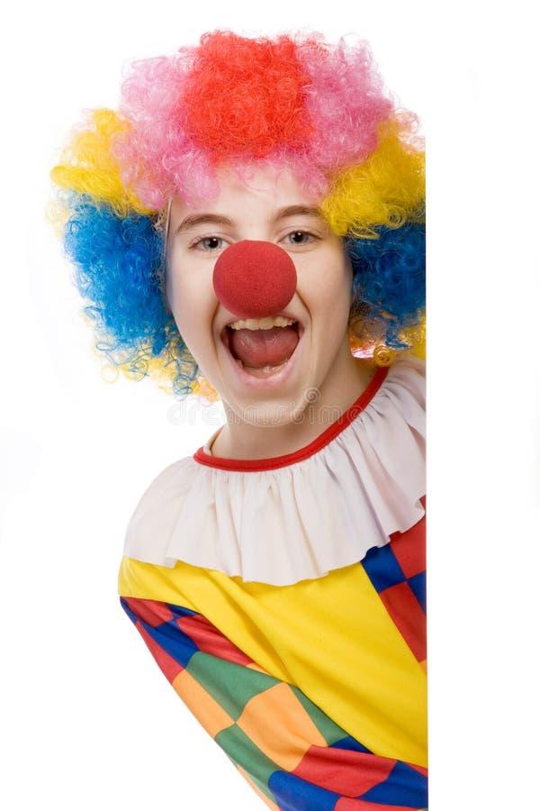 skratta för clown arkivfoto