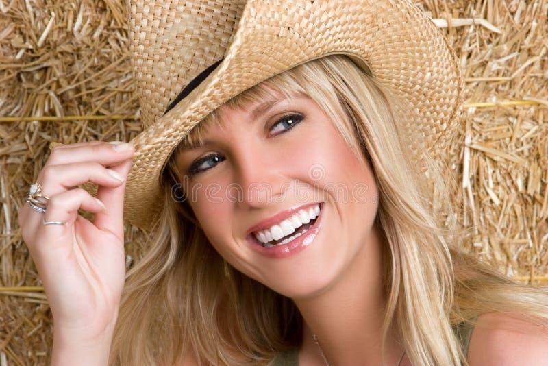 skratta för cowgirl royaltyfria foton