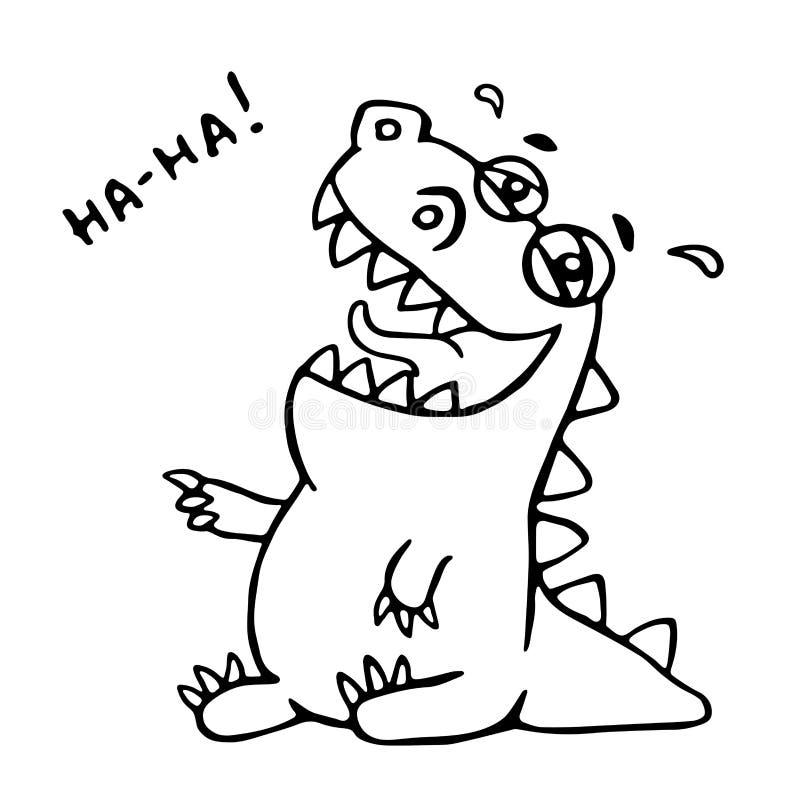 skratta för dinosaur också vektor för coreldrawillustration stock illustrationer