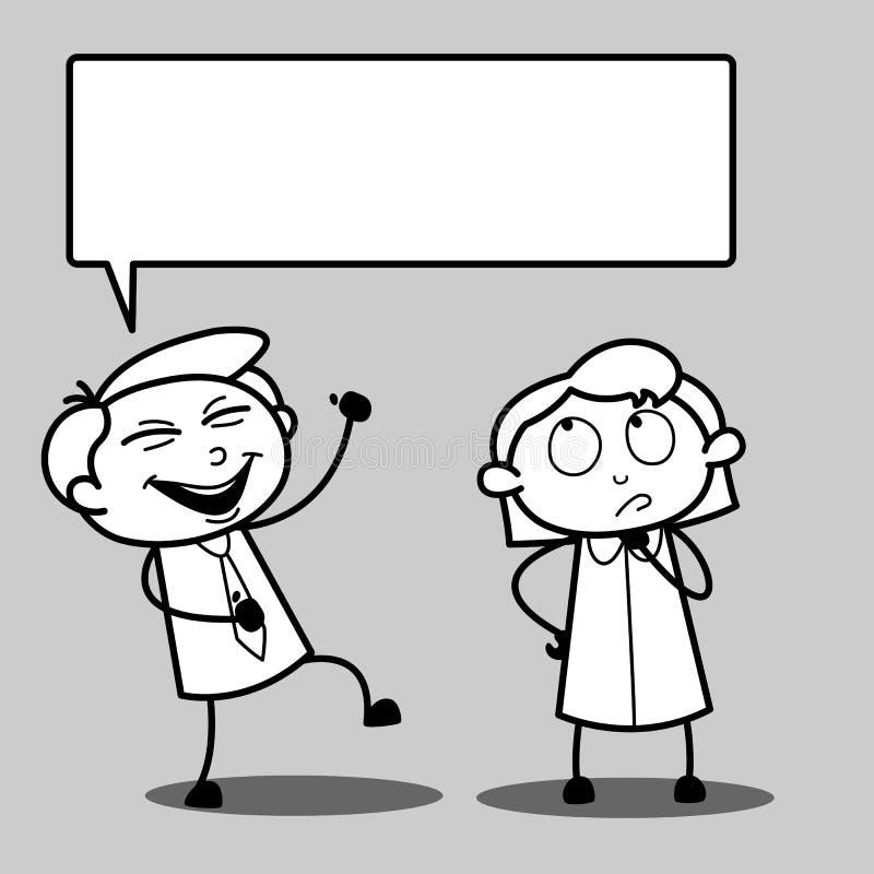 Skratta för pojke och tänkande vektor för flicka royaltyfri illustrationer