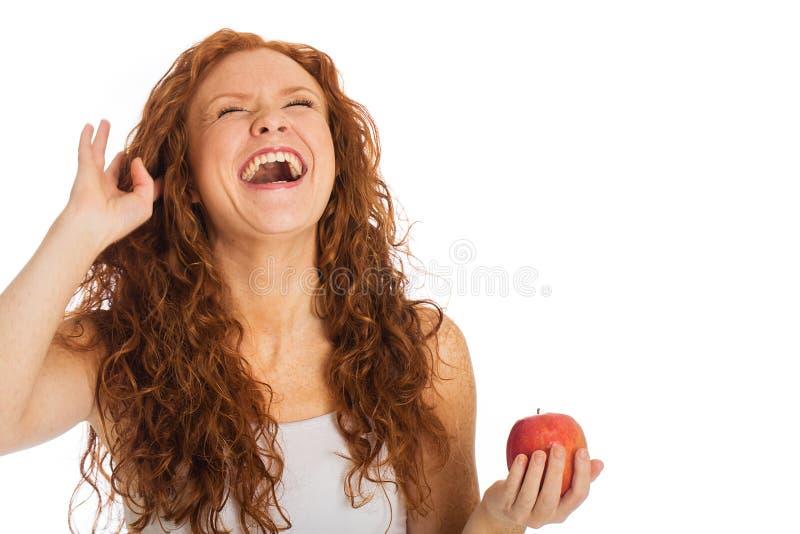 Skratta kvinna royaltyfria bilder