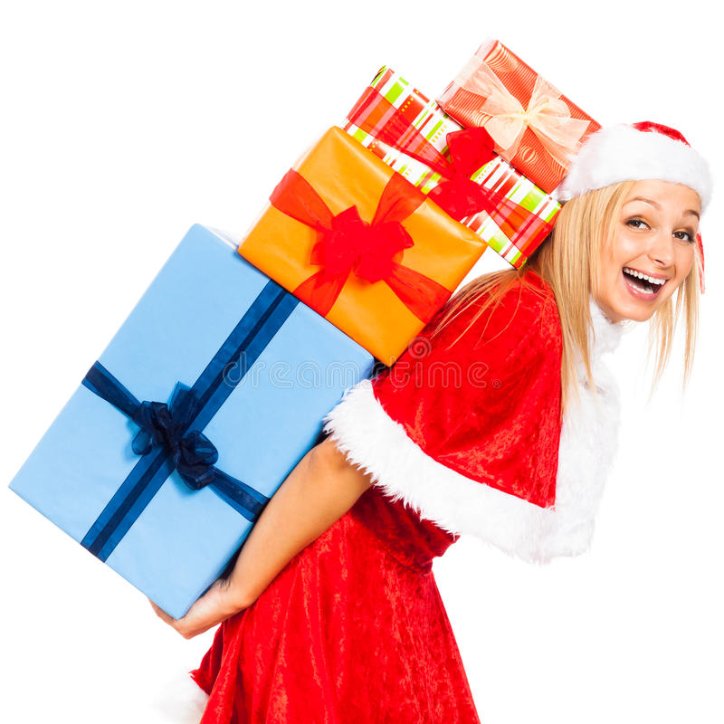 Skratta kvinnlig Santa med julgåvor arkivfoto