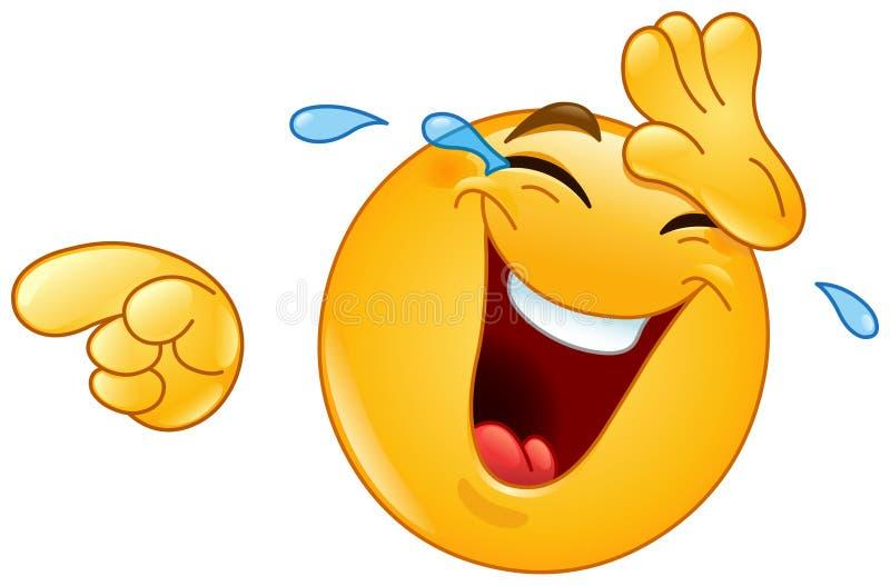 Skratta med revor och peka emoticonen stock illustrationer
