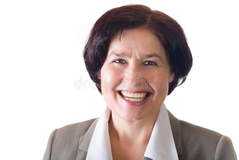 skratta mogen kvinna royaltyfri foto