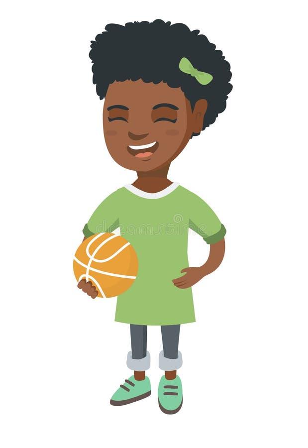 Skratta skolflickan som rymmer en basketboll royaltyfri illustrationer