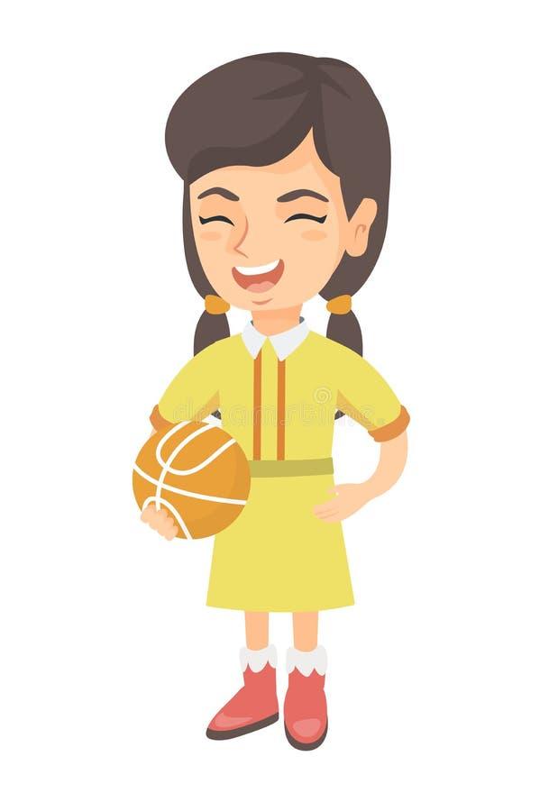 Skratta skolflickan som rymmer en basketboll stock illustrationer