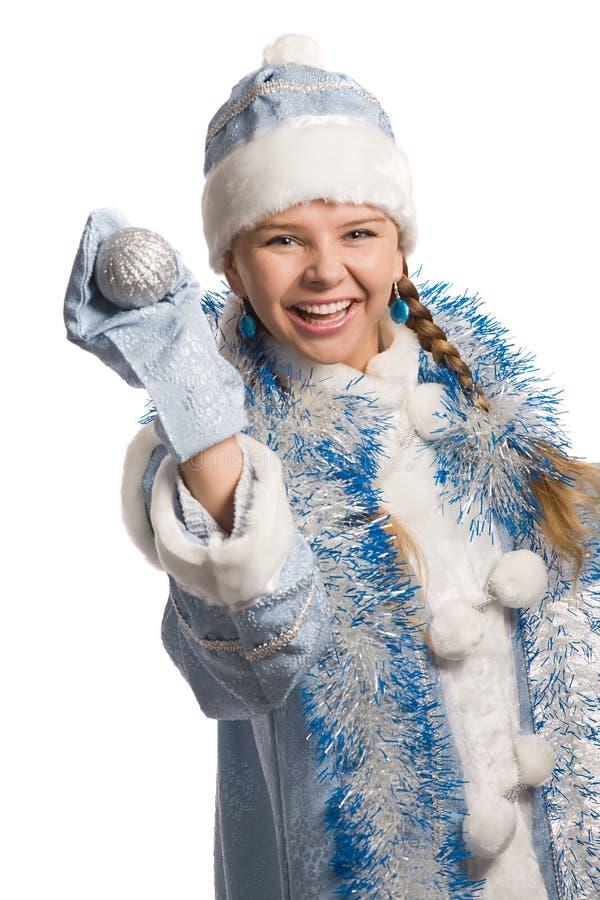 skratta snow för flicka arkivfoto
