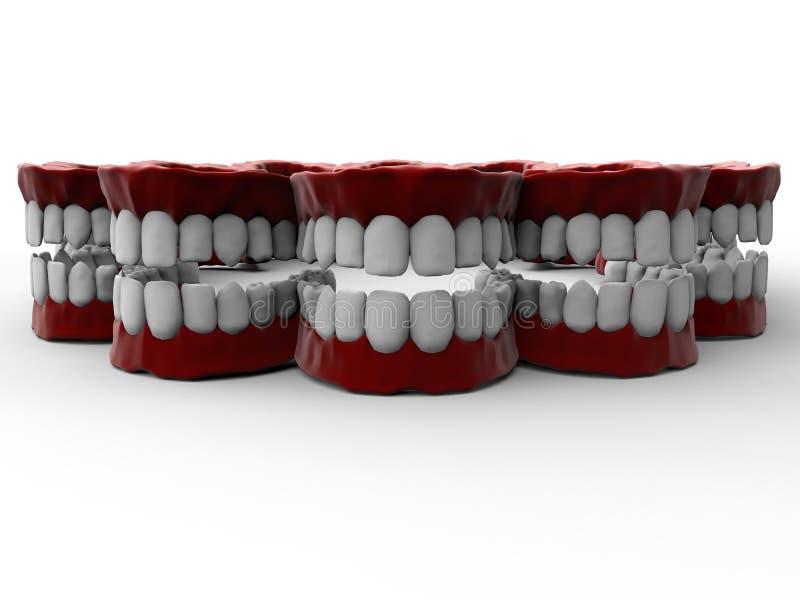 Skratta tandprotessamling stock illustrationer