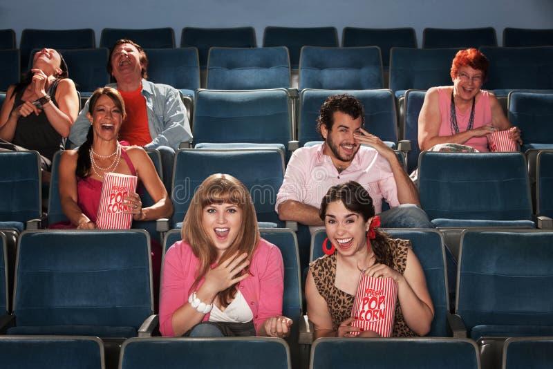 skratta teater för åhörare royaltyfri bild