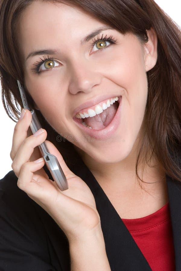 skratta telefonkvinna royaltyfria foton