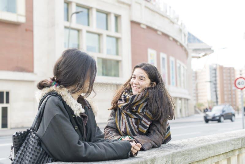 Skratta vänsamtal för kvinna två arkivbild