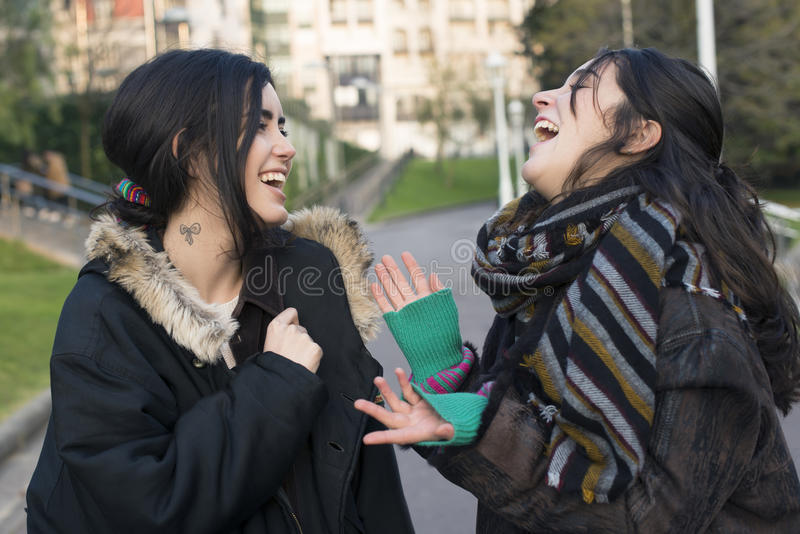 Skratta vänsamtal för kvinna två royaltyfri bild