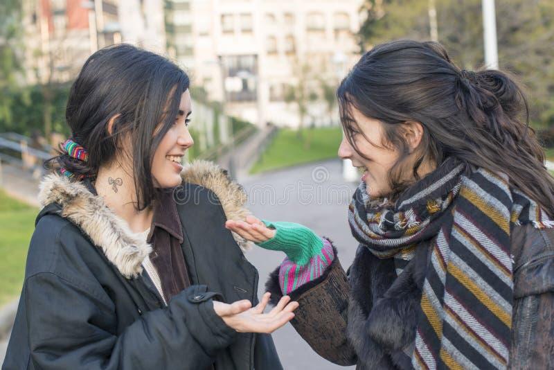 Skratta vänsamtal för kvinna två royaltyfria foton