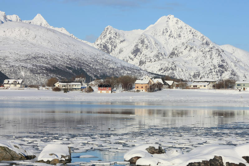Skreda's mirror. The small village of Skreda mirroring in the fjord stock photos