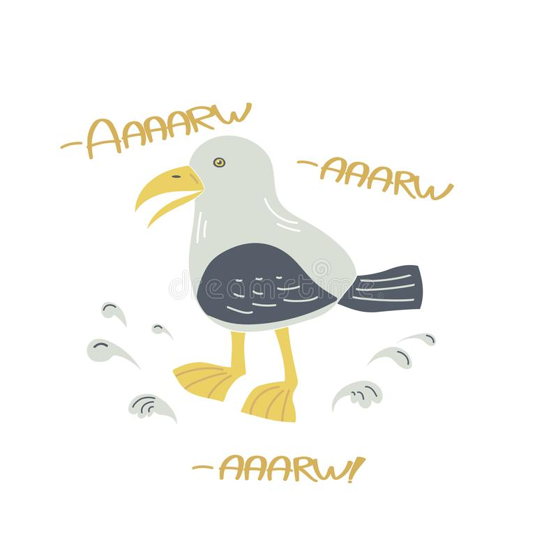 Skria utdragen illustration för seagullvektorhand royaltyfri illustrationer
