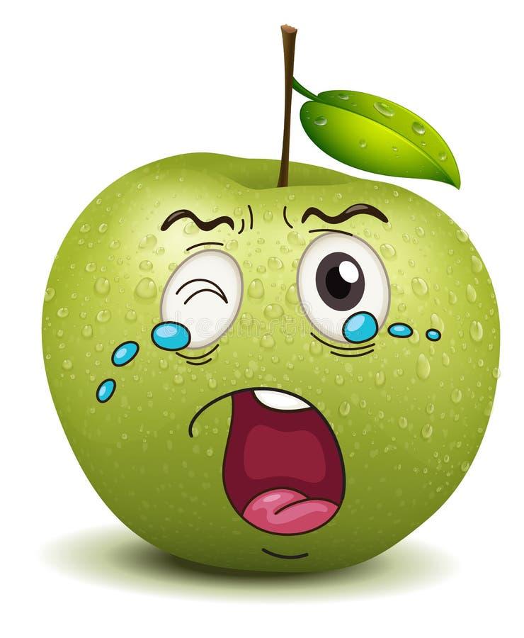 Skriande äpplesmiley royaltyfri illustrationer