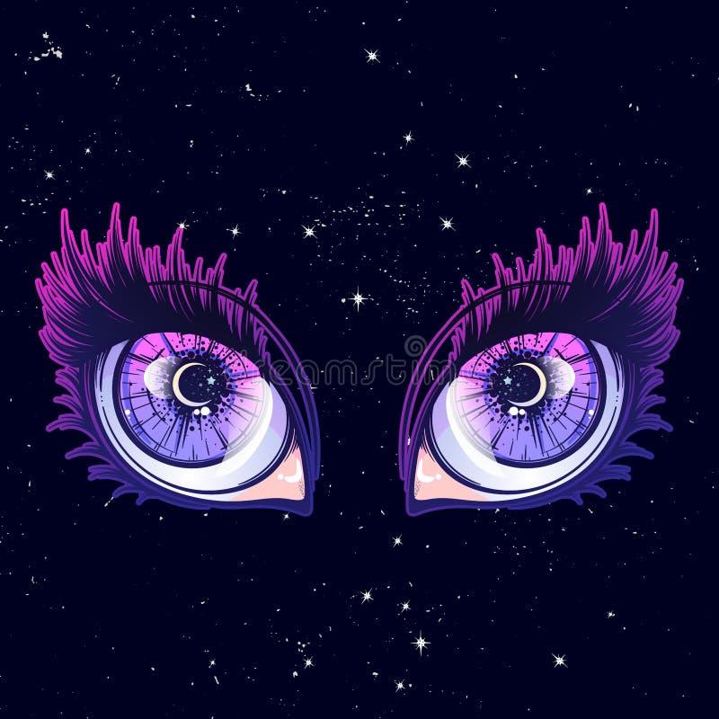 Skriande öga i anime- eller mangastil med tårar och reflexioner Högt detaljerad vektorillustration royaltyfri illustrationer