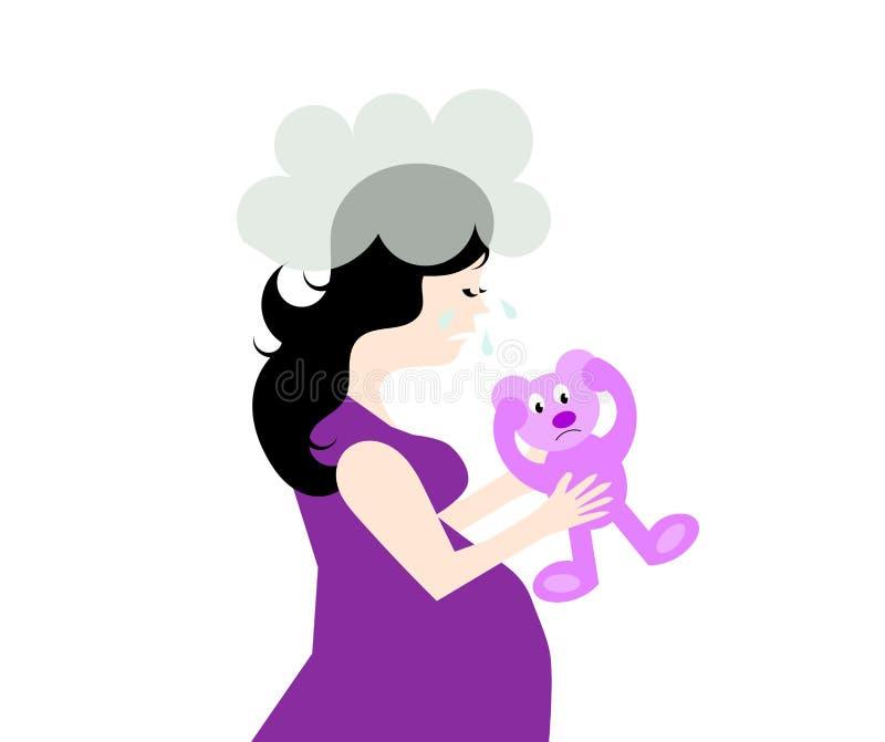 Skriande deprimerad gravid kvinna stock illustrationer