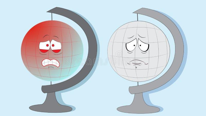 Skriande jordjordklot. vektor illustrationer