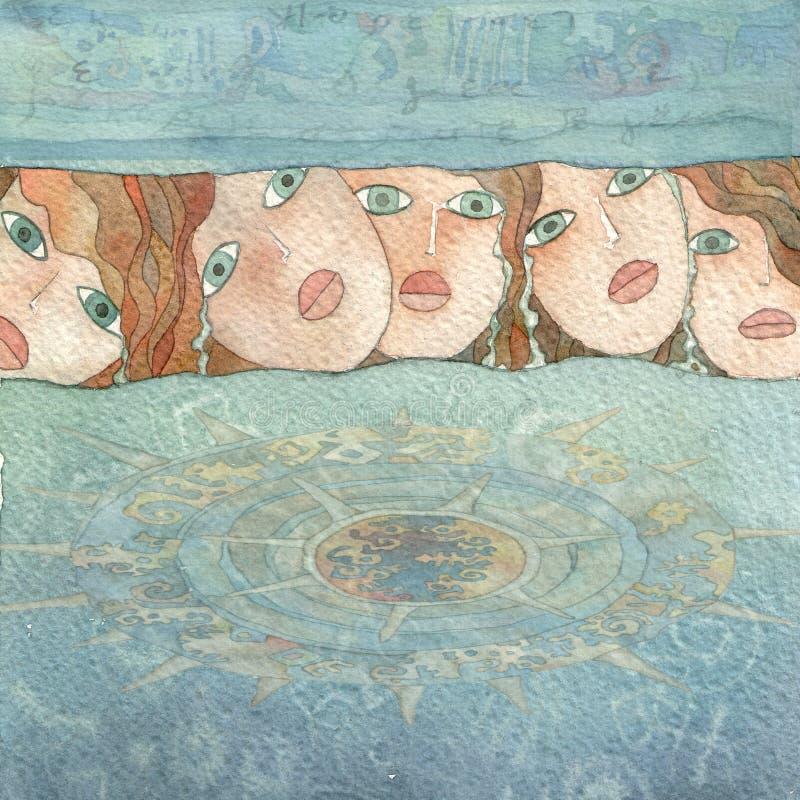 skriande mermaids vektor illustrationer