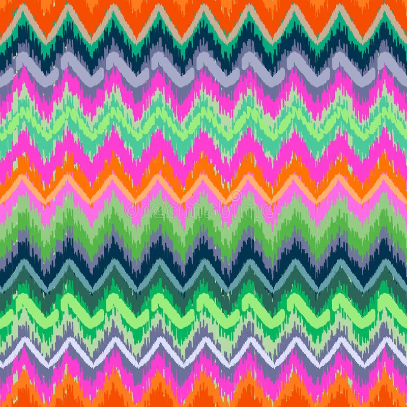 Skribble zigzag. Colorful aztec zigzag ~ seamless pattern stock illustration