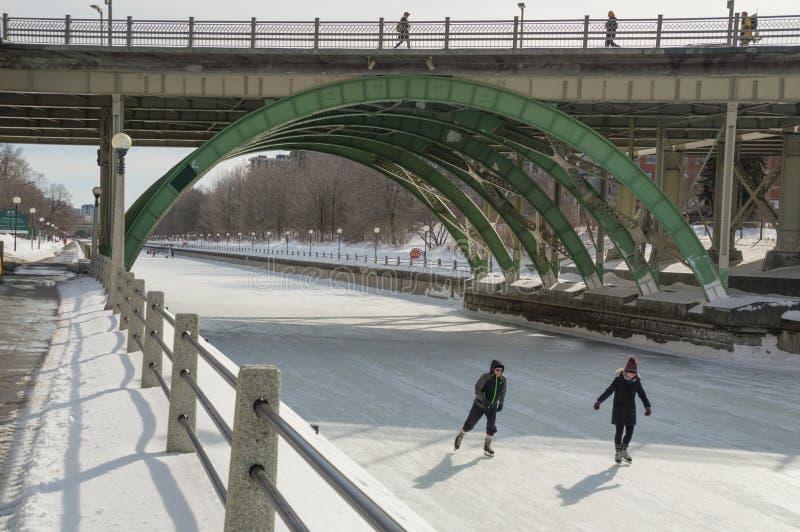 Skridskoåkning under bron på den djupfrysta Rideau kanalen Ottawa W royaltyfria bilder