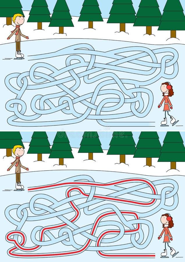 Skridskoåkninglabyrint stock illustrationer