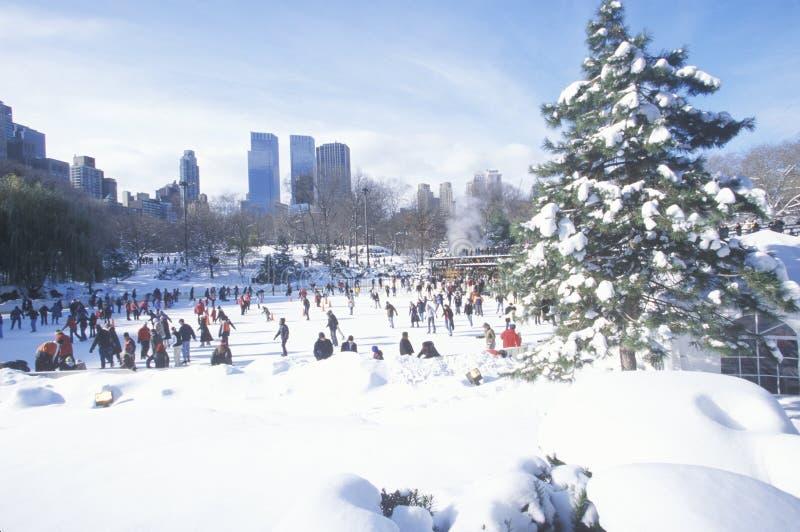 SkridskoåkningWollman isbana i Central Park, Manhattan, New York City, NY efter vintersnöstorm royaltyfri fotografi