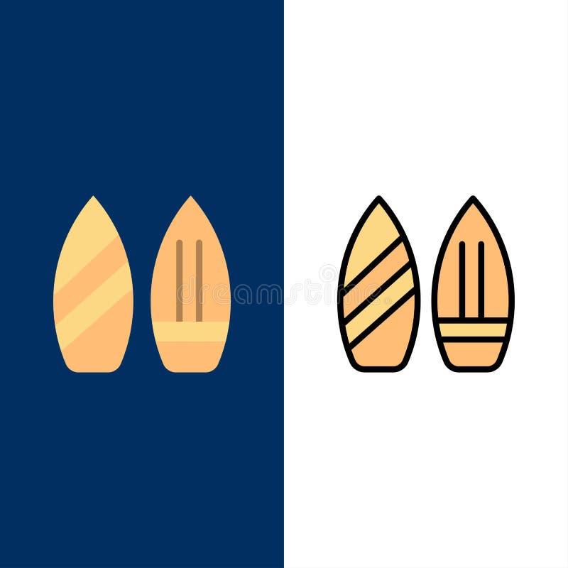 Skridsko Snowboard, sportar, vintersymboler Lägenheten och linjen fylld symbol ställde in blå bakgrund för vektorn stock illustrationer