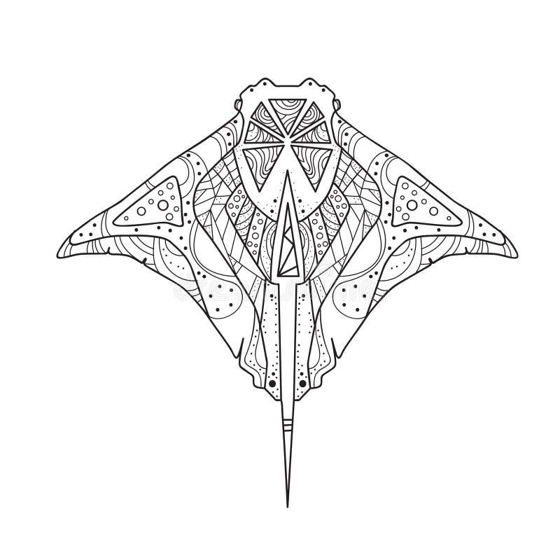 Skridskohand som drar den isolerade Zentangle fisken stock illustrationer