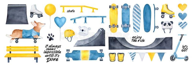 Skridskon parkerar packen med det olika kugghjulet och skateboarding beståndsdelar, motivational citationstecken, partiballonger, royaltyfri illustrationer