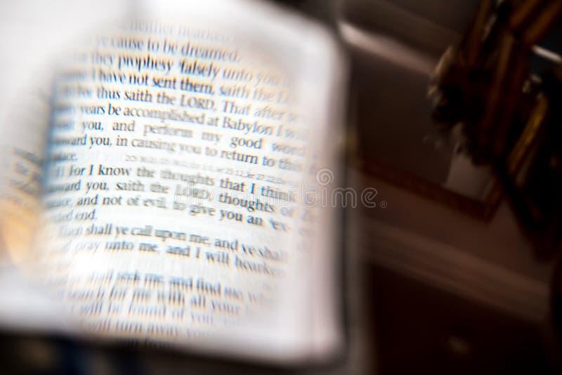Skriftenläsning med förstorar exponeringsglas royaltyfri fotografi